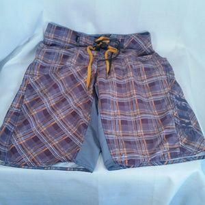 Reef Board Shorts Plaid Purple Orange Mens 34